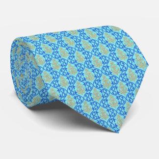 Blue Aqua Moroccan Tile Tie