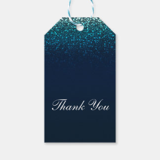 Blue Aqua Navy Glitter Sparkle Sweet 16 Party Gift Tags