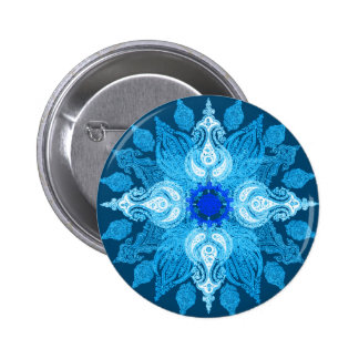Blue aqua paisley sunflower 2 inch round button