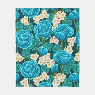 Blue aqua rose floral hand painted pattern fleece blanket