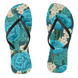 Blue aqua rose floral hand painted pattern flip flops