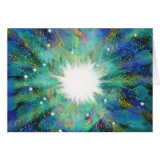 Blue Aqua Star Abstract Art Painting Design Card