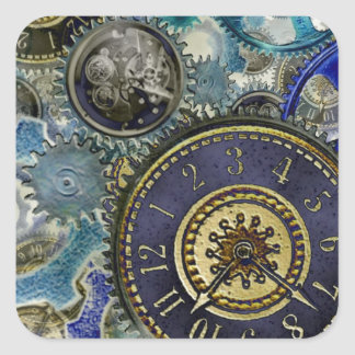 Blue aqua steampunk gears, cogs, clock faces print square sticker