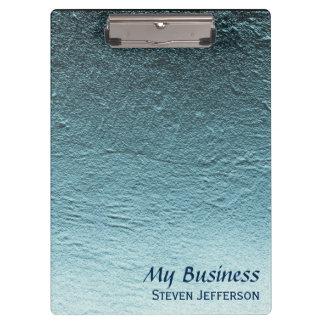 Blue aqua teal gradient aluminum concrete grunge clipboard