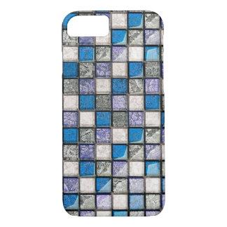 blue aqua tiles pattern iPhone 7 case