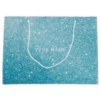 Blue Aqua White Ocean Glitter Favor Gift Large Gift Bag