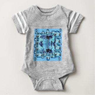 BLUE AQUAMARINES FACETED GEMS  ART BABY BODYSUIT
