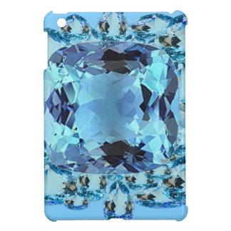 BLUE AQUAMARINES FACETED GEMS  ART COVER FOR THE iPad MINI