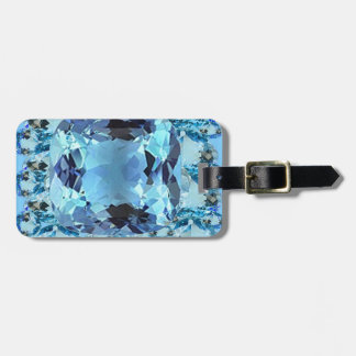 BLUE AQUAMARINES FACETED GEMS  ART LUGGAGE TAG