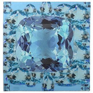 BLUE AQUAMARINES FACETED GEMS  ART NAPKIN