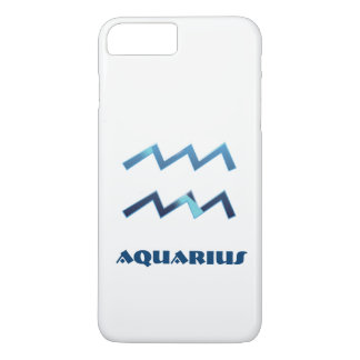 Blue Aquarius Zodiac Sign On White iPhone 8 Plus/7 Plus Case