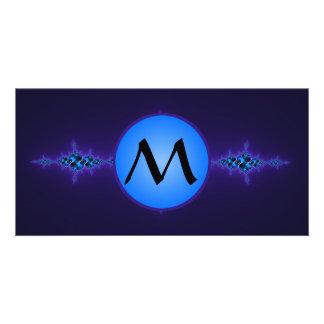 Blue Arabesque on Deep Purple, monogram on blue Photo Cards
