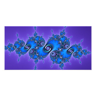Blue Arabesque on Purple - sparkly Julia fractal Personalized Photo Card