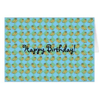 Blue argyle banana pattern card