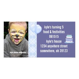 Blue Argyle Birthdy Photo Invitation