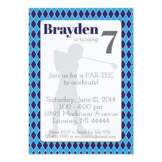 Blue Argyle Golf Birthday Invitation