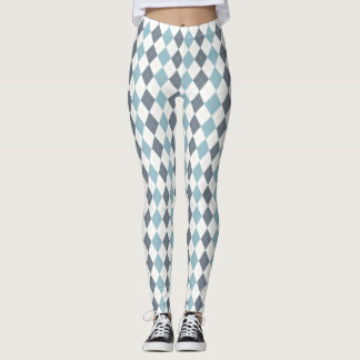 Blue Argyle Leggings