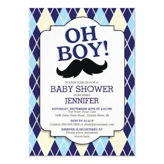 Blue Argyle OH BOY Mustache Baby Shower Card