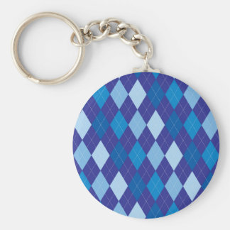 Blue argyle pattern basic round button keychain