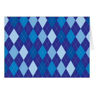 Blue argyle pattern card