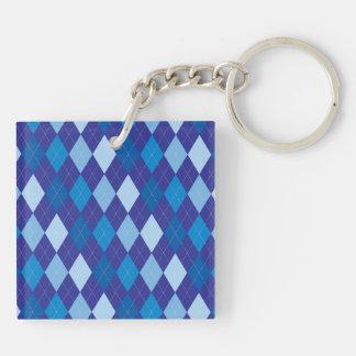 Blue argyle pattern Double-Sided square acrylic keychain