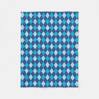 Blue Argyle Pattern Fleece Blanket