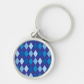 Blue argyle pattern Silver-Colored round keychain