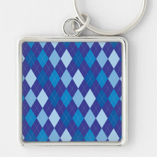 Blue argyle pattern Silver-Colored square keychain