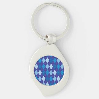 Blue argyle pattern Silver-Colored swirl keychain