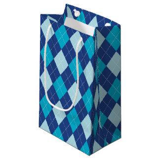 Blue Argyle Pattern Small Gift Bag