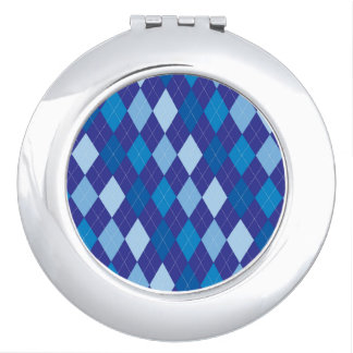 Blue argyle pattern vanity mirror