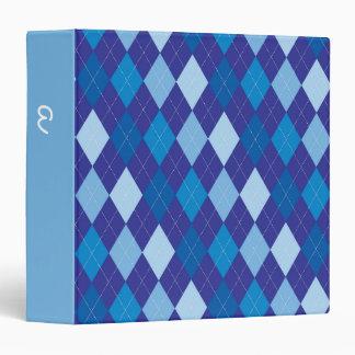 Blue argyle pattern vinyl binder