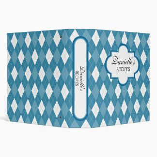 Blue Argyle Personalized 2 Inch Binder