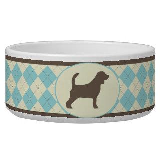 Blue Argyle plaid Beagle dog bowl