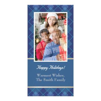 Blue Argyle single photo Photo Card Template