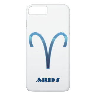 Blue Aries Zodiac Sign On White iPhone 8 Plus/7 Plus Case