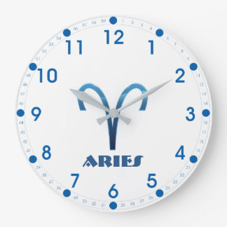 Blue Aries Zodiac Sign On White Large Clock