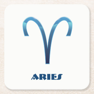 Blue Aries Zodiac Sign On White Square Paper Coaster
