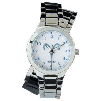 Blue Aries Zodiac Sign On White Watch