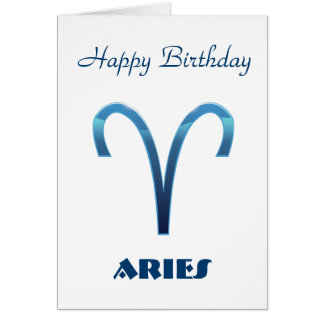 Blue Aries Zodiac Signs Happy Birthday Card