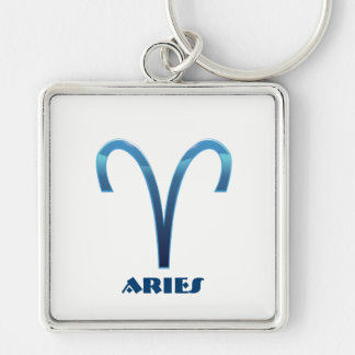 Blue Aries Zodiac Signs On White Keychain