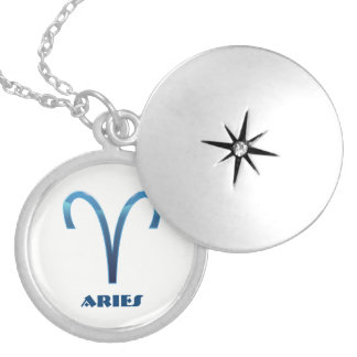 Blue Aries Zodiac Signs On White Silver Plated Necklace