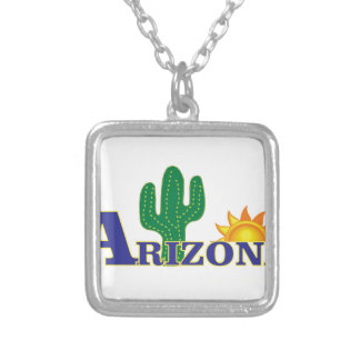 blue arizona silver plated necklace