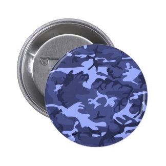 Blue army camouflage design pattern 2 inch round button