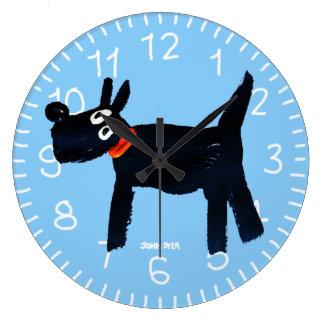 Blue Art Clock: John Dyer Scotty Dog Clocks