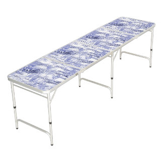Blue Art Deco Beer Pong Table
