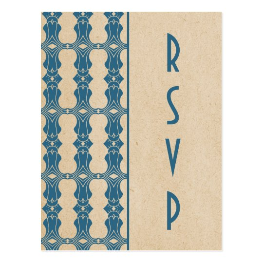 Blue Art Deco Border RSVP Postcard