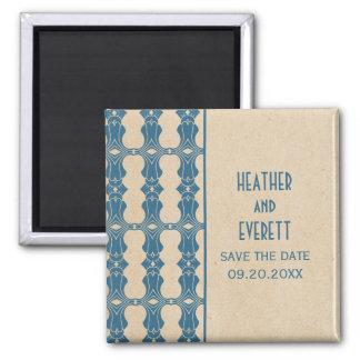 Blue Art Deco Border Save the Date Magnet