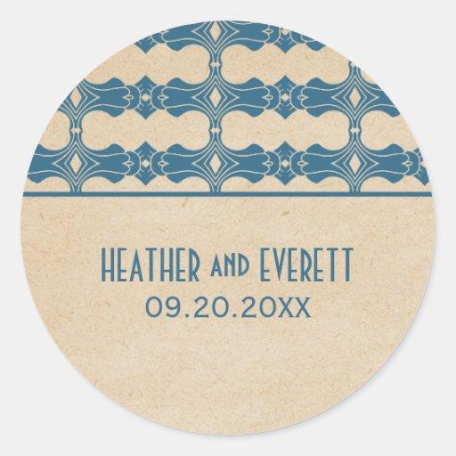Blue Art Deco Border Wedding Stickers