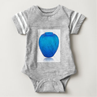 Blue Art Deco glass vase with birds. Baby Bodysuit